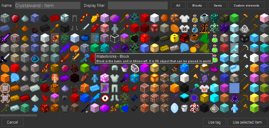 Item and block selector. Supports custom mod elements and sorting.