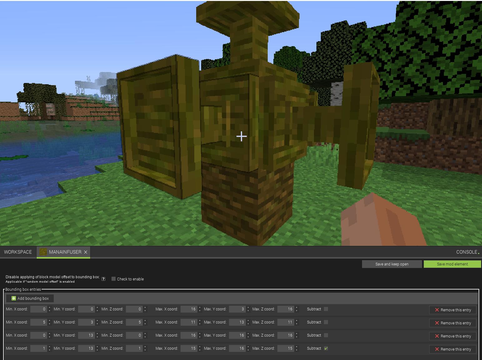 Customizible Minecraft block bounding boxes
