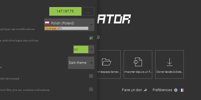 New MCreator translations and translation amount display