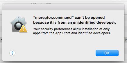MCreator on Mac warning