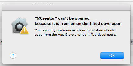 MCreator Application Mac Warning