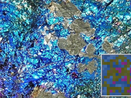 Actual Chalcopyrite with Minecraft block bottom right