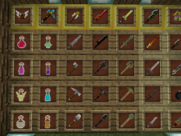 Left side:Potions  Middle: Tool sets Right side:Unique Weapons Top side: Legendary Tools/Weapons/Mount