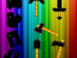 The image contains images of all the tools and armor supported with the Dark Quartz item. Instead of sticks, the tools have blaze rods. The background is rainbow. So if your PC didn't load the pic or you screen reader there you go. Your welcome.