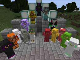 The armor stacked up by tier. Of course, they all have weapons and tools, some have ores and blocks.