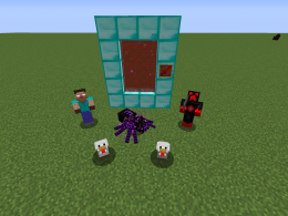 Herobrine: back left, Ender Spider: back middle, Player Boss: back right, Aggressive Chicken: front left, Aggressive Chicken Boss: front right.