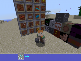Ores++ Picture - Screenshot of Alex in world showing the items and blocks in this mod