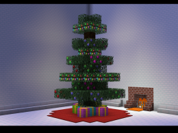 Tree decorated with blocks from the Mod