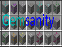 Gemsanity logo with ores behind it