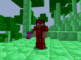 character with ruby armor, holding a ruby battleaxe in the emerald dimension
