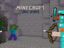 Steve and Alex with full diamond armors, zombies, skeletons, stone golems.