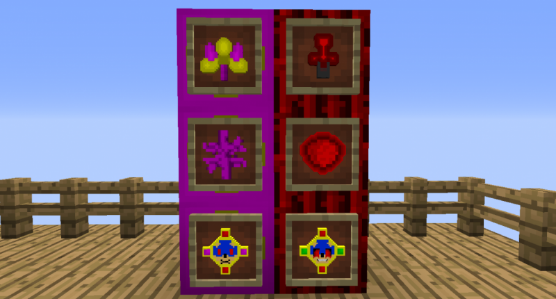 The items so far. From top left to bottom right, they are: Portle Geter, Non-Canon Portal Igniter, Dermerntium, Non-Canonite, The Amulet of mpeg, and the Amulet of exe. More details in the description.