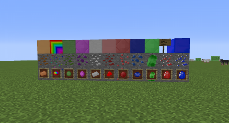 A picture of some the new ores. (some textures have changed) I will update the pictures at version 1.2
