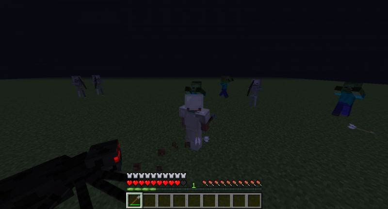 This is me battling mobs with Titanium Armor and a Spear