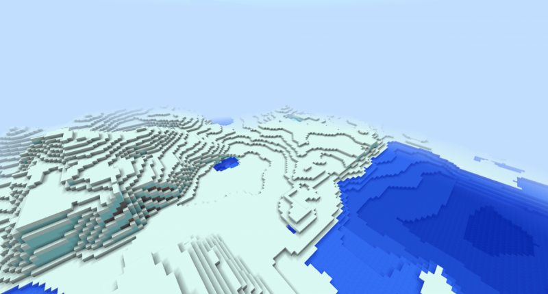 A picture of land generation w/out trees and structures.