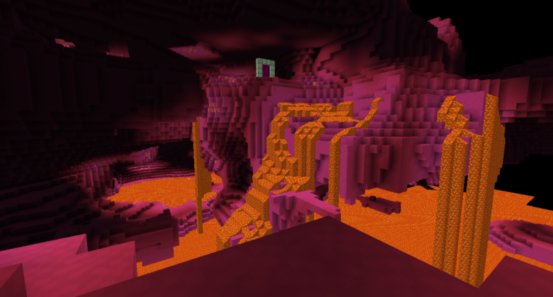 A pink cavern filled with lava and glowing ore blocks