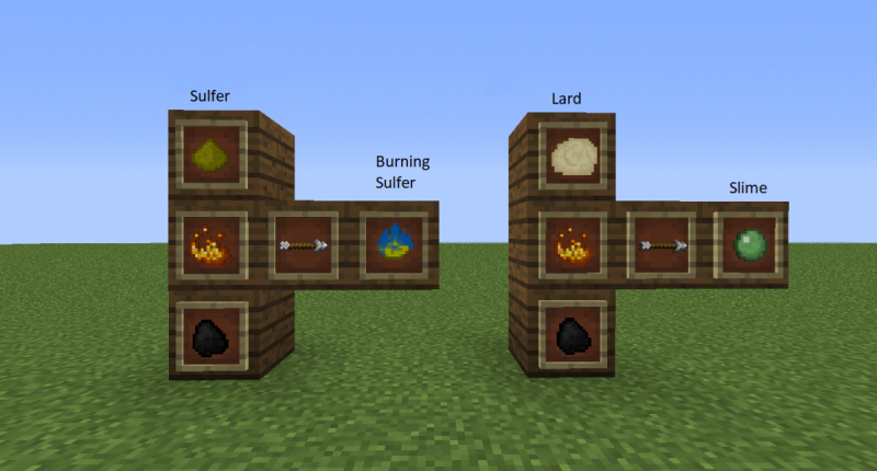 The new cooking recipes: Slime from Lard and Burning sulfer from sulfer