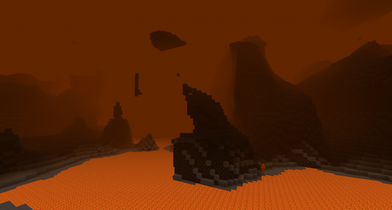 A dark place surrounded by orange fog.