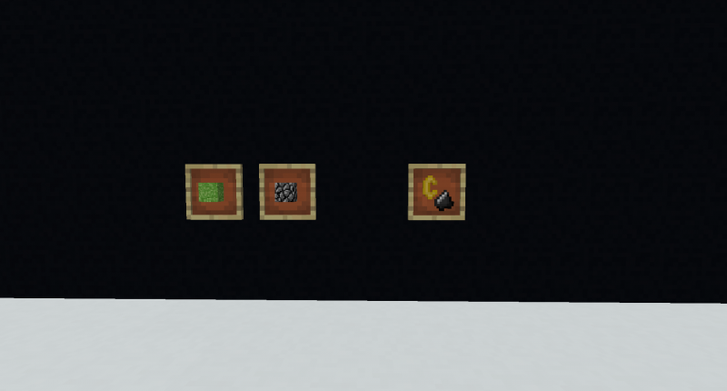 All of the current Blocks and Items! (Left-Right: Compact Grass, Beta Cobble, Golden Flint And Steel