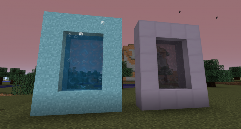 Two new dimentions with portals made of steel and a strange magical block