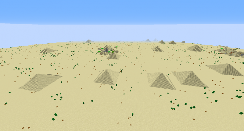 Here you can see the pyramids added by the mod.