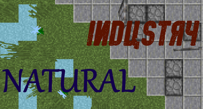 Natural Industry, grass with mysterious magical blocks clashes with grey stone and iron bars