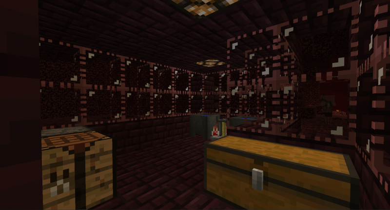 A Nether base created with the new decorative Soul Glass.