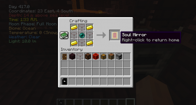 Crafting recipe for a new item, the Soul Mirror.