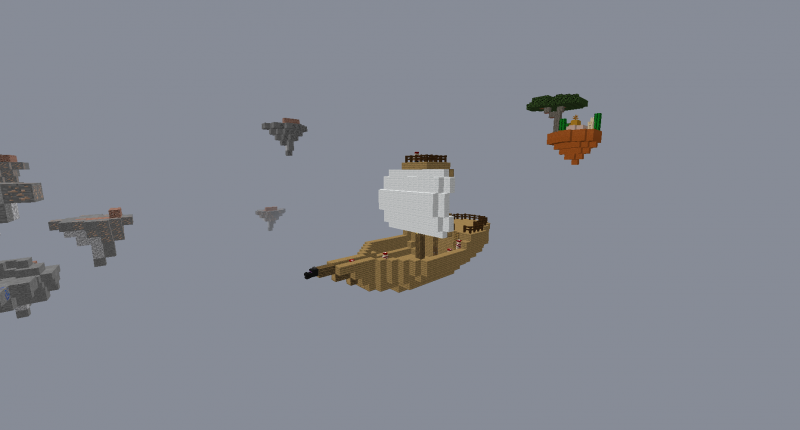 Pirate Ship Surrounded by Floating Islands