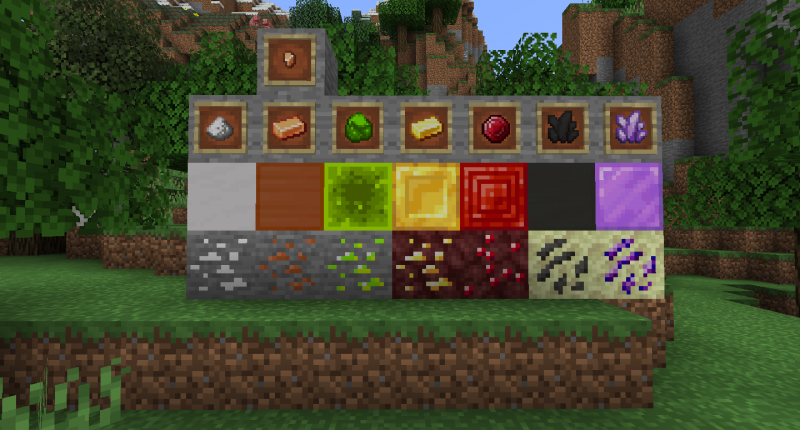 New Ores ; Salt, Copper, Uranium, Nether Gold, Nether Ruby, Ender Quartz, and Ender Amethyst