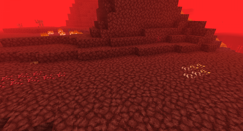 Naturally generating Nether Ruby And Nether Gold Ores.