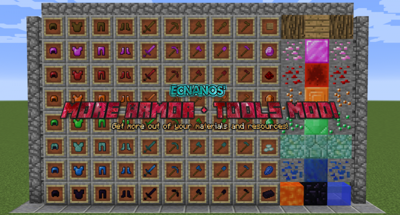 A mod that adds additional sets of armor and tools into Minecraft, with vanilla styled textures.
