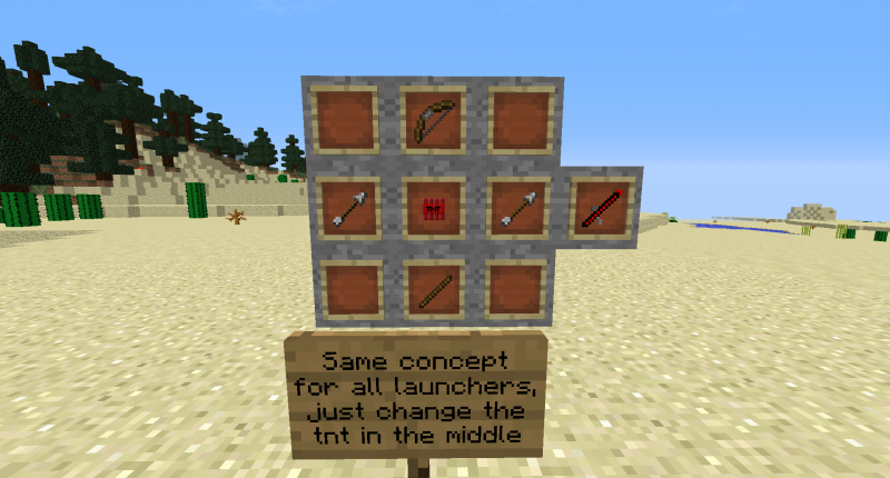 Recipes for all the Tnt Launchers