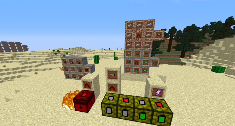 The Fire Collector and the recipe on the left, and the Fire To Lightning Converter and Recipes on the right.