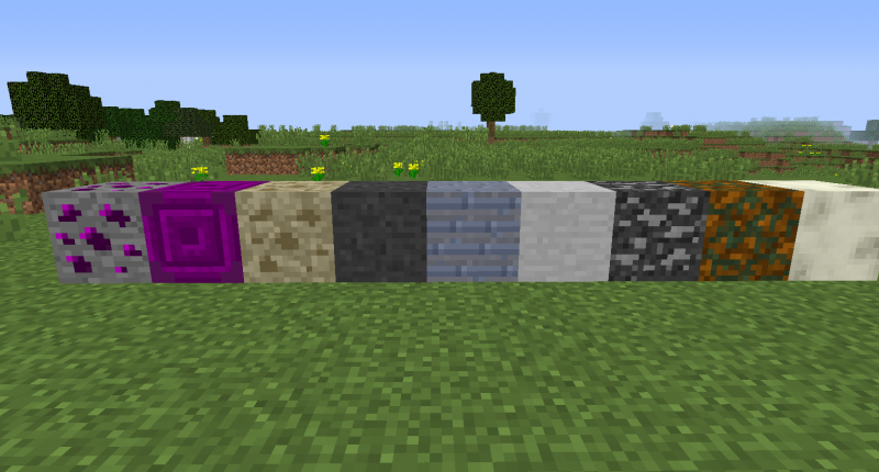 Spectral ore, spectral block, limestone, basalt, shale, marble, gabbro, peridotite, and silver sand!
