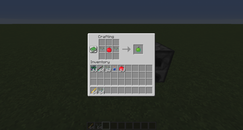 The crafting recipe for a glitched apple.