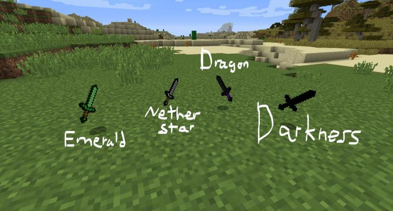 Emerald, Nether Star, Dragon, and Darkness Swords