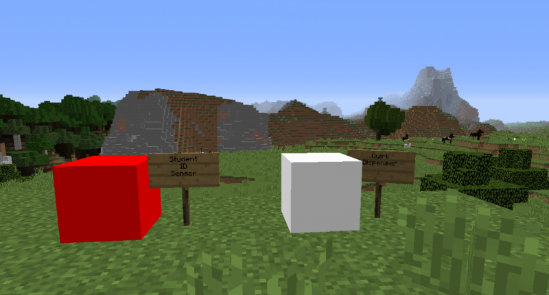 The blocks ID sensor and Quirk Dispenser. Be sure to have your ID when you step on the block, otherwise you won't be allowed access.