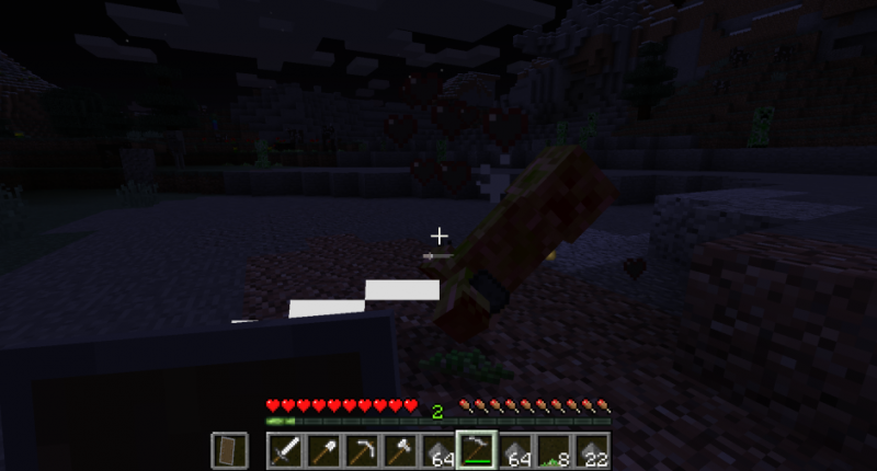 attacking a creeper with the scythe