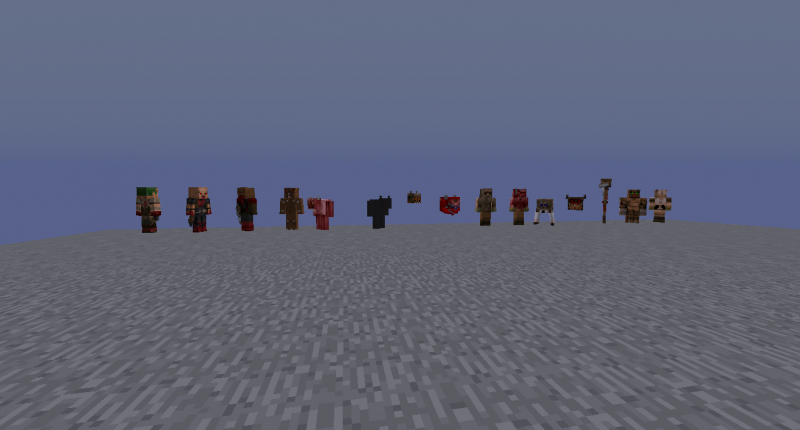 Mobs: Zombieman, Shotgunguy, Heavy weapon dude, Imp, Demon and Spectre, Lost Soul, Cacodemon, Hell Knight, Baron of hell, Arachnotron, Pain elemental, Revenant, Mancubus, Arch-vile.
