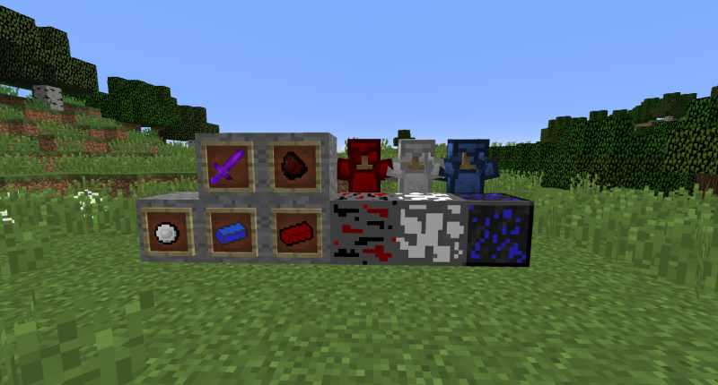 The armour sets and ores, as well as a sword and metal bars.