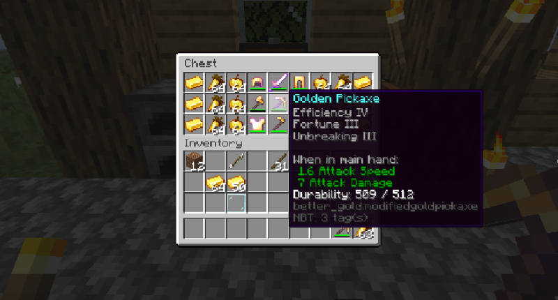 Gold tools have higher durability, higher damage and is easier to use