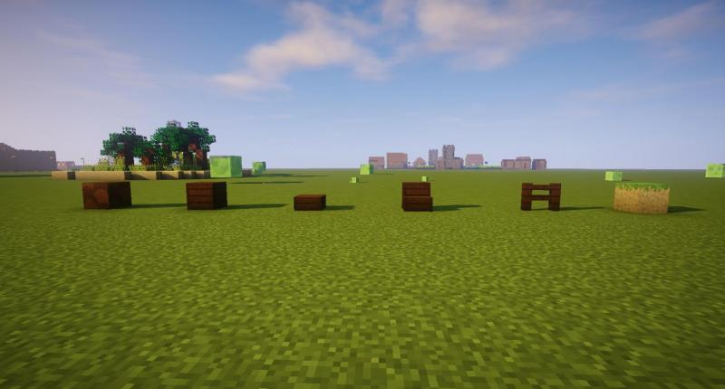 The six new blocks. From left to right: The palm log / the palm planks / the palm slab / the palm staircase / the palm fence / and the cube of sand topped with grass