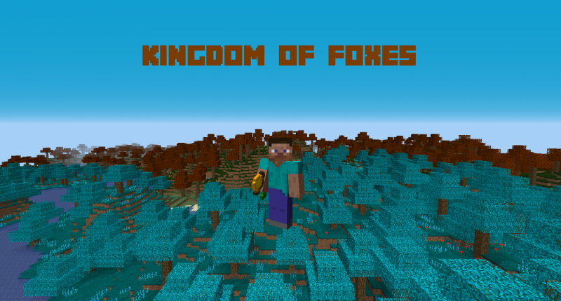 There are two beautiful biomes: a blue forest that swin in lunar energy and another biome locked in the fall season.