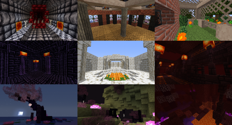 Builds made with blocks in the mod