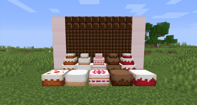 An image showing off the various new cake flavors and three tiered varieties added by the mod.