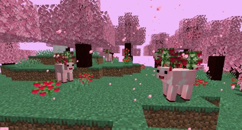 A preview of the new mob, the Mooberries grazing in the Cherry Blossom forest biome.