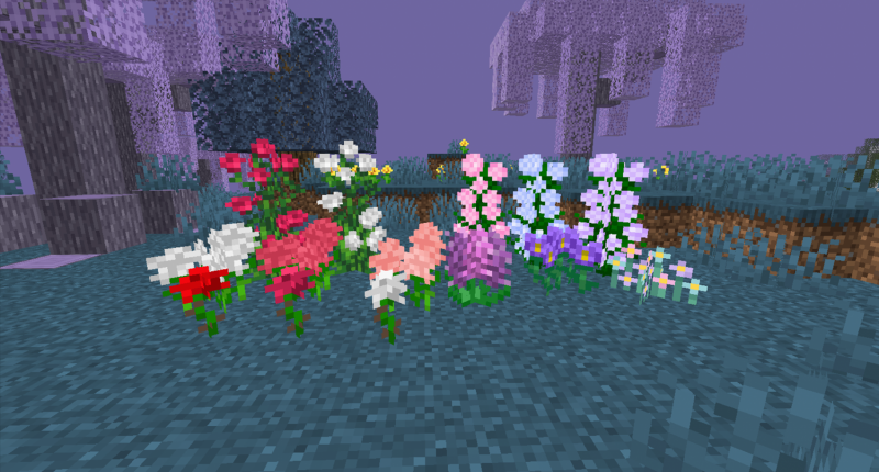 Some of the new flowers added by the mod such as variants of roses, hydrangeas, carnations, hyacinths, lilacs, and forget-me-nots.
