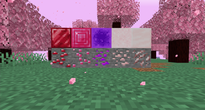 A showcase of the new ores added by the mod: Red Beryl, Pink Sapphire, Magic, Pink Salt, and Rose Quartz