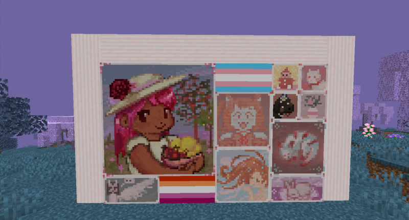 Some of the beautiful new paintings featured in the mod. All are very vibrant and colorful and share a common theme of cuteness. The mod also includes various pride flag paintings which are also shown.